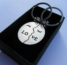 Gift Boxed Love Couple Keyrings Love Metal Chrome Keychain BRAND NEW