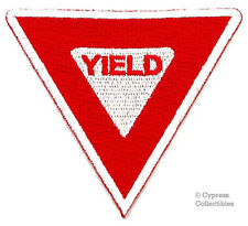 YIELD SIGN iron-on BIKER PATCH TRAFFIC STREET ROAD SIGN embroidered applique RED