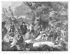LONDON Highgate Fields during the Great Fire of 1666 - Antique Print 1857