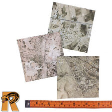 British Army Afghanistan - Satellite Maps x3 - 1/6 Scale - DID Action Figures