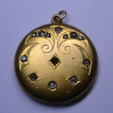 ANTIQUE VICTORIAN FRENCH PASTE LOCKET PENDANT - ENGRAVED DESIGN & TINY RED STONE