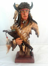 "12.5"" Inch Indian Head & Bust Native Indio Americano Statue American Figurine"