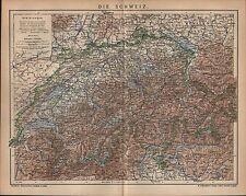 Landkarte map 1903: DIE SCHWEIZ. Maßstab: 1 : 1.200 000
