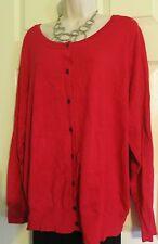NEW Deep Red Super Soft Black Button Sweater Top Lane Bryant Plus 26/28 (3X/4X)