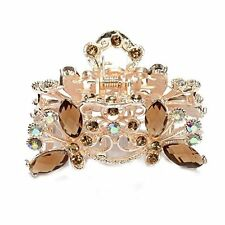 Hair Clamp Claw Clip Metal Crystal Glass Coffee Women Hot 35x65mm PS