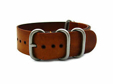 HNS Zulu 20/22/24 Handmade Vintage Washing Style Brown Calf Leather Watch Strap