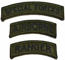 US Army Special Forces Airborne Ranger Patch Olive Drab (3 patches) Military