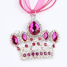 Ribbon Alloy Crown Rhinestone Pendant Christmas Charm Necklace For Girls Jewelry