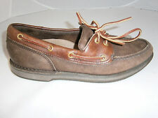ROCKPORT MENS SIZE 8 CASUAL OXFORDS BOAT LEATHER TWO TONE BROWN LACINGS