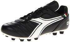 Diadora Soccer Mens Brasil Classic MD PU Soccer Cleat,Black/White,9 M US