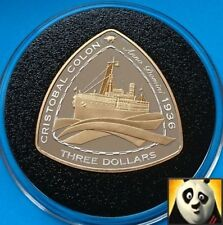 2007 BERMUDA $3 Dollars SHIPWRECK Cristobal Colon Silver Proof &Gold Plated Coin
