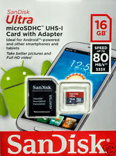 SanDisk 16GB Ultra Micro SDHC UHS-I CLASS 10 FLASH CARD CON ADATTATORE