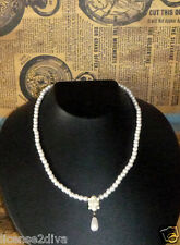 "WHITE PEARL VINTAGE NECKLACE! GENUINE ART DECO PERIOD! CHOKER! 15"" FAUX!"