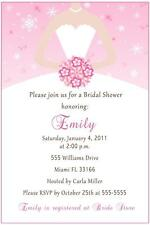 30 Personalized Bridal Shower Invitations Winter Snowflakes Pink Sweet 16 Dress