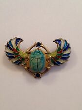 Finest Antique Egyptian Revival Piqué A Jour Set Scarab Brooch - Circa 1910