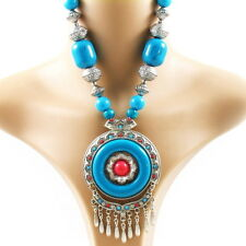 Necklace fashion Mongolian retro vintage style large pendant dangle wood beads