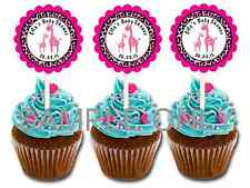 30 ct Pink  giraffe safari personalized cupcake toppers girl baby shower favors