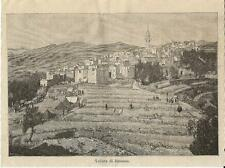 Stampa antica BUSSANA veduta panoramica Imperia Liguria 1887 Old antique print