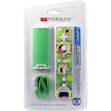 Green Battery Door Cover Lid +Sticker + Strap for Nintendo Wii Remote Rubberized