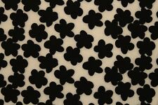 Neoprene Scuba Juvenile Jersey Flowers Print Dress Fabric Material (Cream/Black)