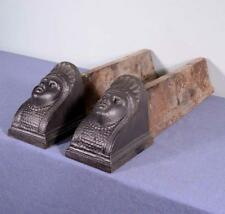 *Vintage French Egyptian Revival Cast Iron Fireplace Andirons