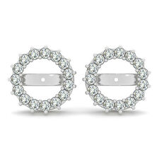 1.20 Ct G-H Round Diamond Solitaire Stud Earring Jackets Halo 14K White Gold si2