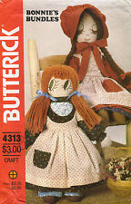 """1980's VTG Butterick Two Stuffed Dolls&Clothes Pattern 4313 Size 17"""",21"""""""