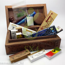Wooden Stash Storage Box Cigarette Rolling Christmas Gift Kit Hemp Paper Grinder