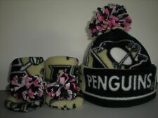 PENGUINS BABY HAT HANDMADE newborn BEANIE BOOTIES FLEECE girl  pink PITTSBURGH