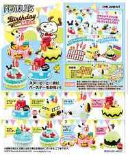 Miniatures Peanuts Snoopy birthday cake Set , Complete 1 box 8 pcs - Re-ment