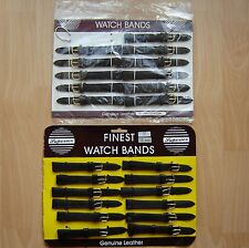 Job Lot Of 23 Extra Long Black Leather Watch Straps With Gilt Buckles