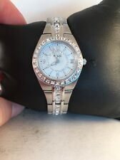 Relic Glitz By Fossil Ladies Queens Court Crystal Watch ZR11788-Silver Tone-H33