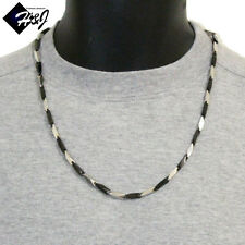 "24""MEN's Stainless Steel 4mm Black Silver Plain Arrow Link Bullet Chain Necklace"