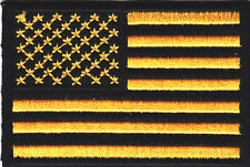 AMERICAN FLAG,YELLOW & BLACK w/BLACK BORDER-Iron On Patch/Patriotic USA,Biker