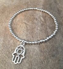 Simple Silver Ball Plated Beaded Star Hand Of Fatima Charm Stretch Bracelet