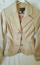 Danier Sand Soft Fitted Leather Blazer Jacket  XS XXS
