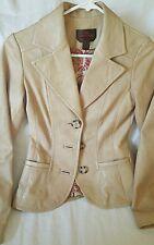 Danier Sand Soft Fitted Leather Blazer Jacket  XS XXS