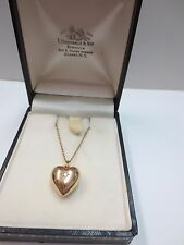 Vintage 14k Solid Yellow Gold Necklace with Puffed Diamond Heart Pendant 18""