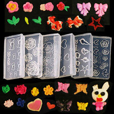 6X Nail Art Tips UV GEL Acrylic Powder Silicon Mould Rose Heart Bow Mold Decor