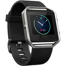 Authentic Fitbit Blaze Smart Fitness Tracker Watch W/ HR Monitor Black Large NEW