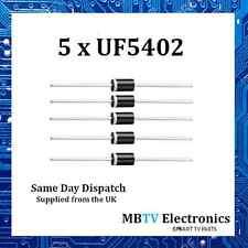 5 X Diodo UF5402, 200V 3Amp 2 Pin Rectificador de plástico suave recuperación ultrarrápida DO-2