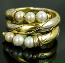 18K designer signed EUROCATENE Italy Genuine Pearl Two-Tone Gold Wrap Ring