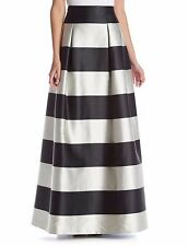 8 ELIZA J Black Off-White Stripe Satin Full Length Ball Skirt NWT $228