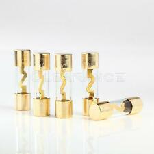 5pcs 70 AMP AGU GOLD PLATED FUSES ROUND GLASS FUSE - SHIPS FREE