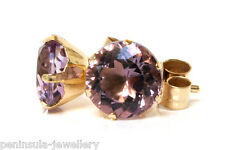 9ct Gold Amethyst 6mm Stud earring, Gift Boxed Made in UK