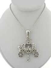 NEW CRYSTAL PUMPKIN CARRIAGE PENDANT NECKLACE CINDERELLA PRINCESS JEWELRY