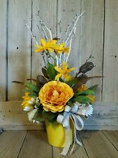 Floral Flower Arrangement Country Rustic  Handmade Yellow Mixed Materials Gift