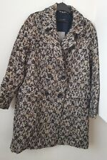Zara Navy Ecru Tweed Wool Blend Double Breasted Coat/Jacket  BNWT SIZE S