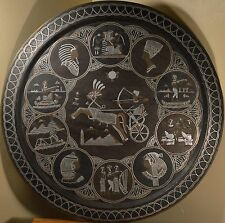 HUGE Silver Inlay Egyptian Antique Copper Plate, 11 Stellar Images, BEAUTIFUL!!