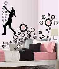 Volleyball Girls, wall decal, sports decal, girls, volleyball Black or White
